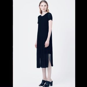 COS black jersey dress with sheer overlay